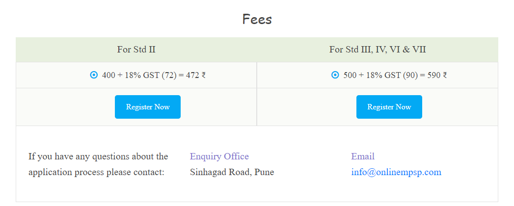 MPSP Exam Fee