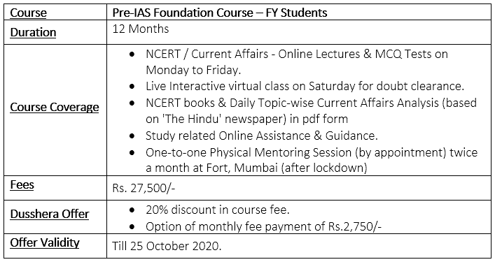 FC Course Details for First Year Students